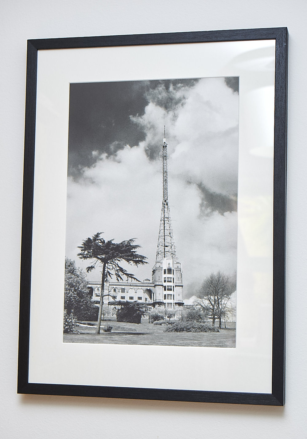 "High Frequency **SOLD**   An unusual view of Alexandra Palace, shot on black & white infrared film. This gives a softer feel to the image and creates more drama in the sky.   Printed on Hahnemuhle German Etching Paper.    Frame Size approx 25 x 18.5""     COST £75.00 **SOLD**"
