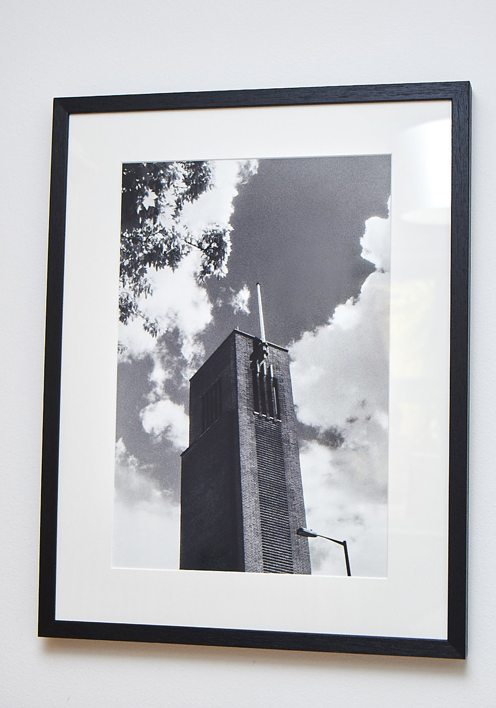 "Hornsey Highlight  **SOLD**  An imposing view of Hornsey Town Hall, shot on black & white infrared film.    Printed on Hahnemuhle German Etching Paper.    Frame Size approx. 21.5 x 17""     COST £65.00  **SOLD**"