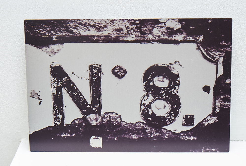 "N8  **SOLD**  A study of an old road sign, printed onto aluminium.    Finished Size approx. 12 x 8""     COST £35.00  **SOLD**"