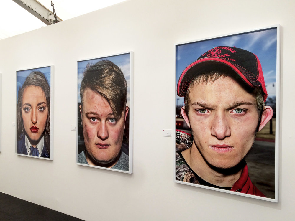 Bruce Gilden's images are scary enough on Instagram, so to see these faces, with their teenage acne and scars in mega scale was powerful. Images from Gilden's latest work  Farm Boys & Farm Girls USA
