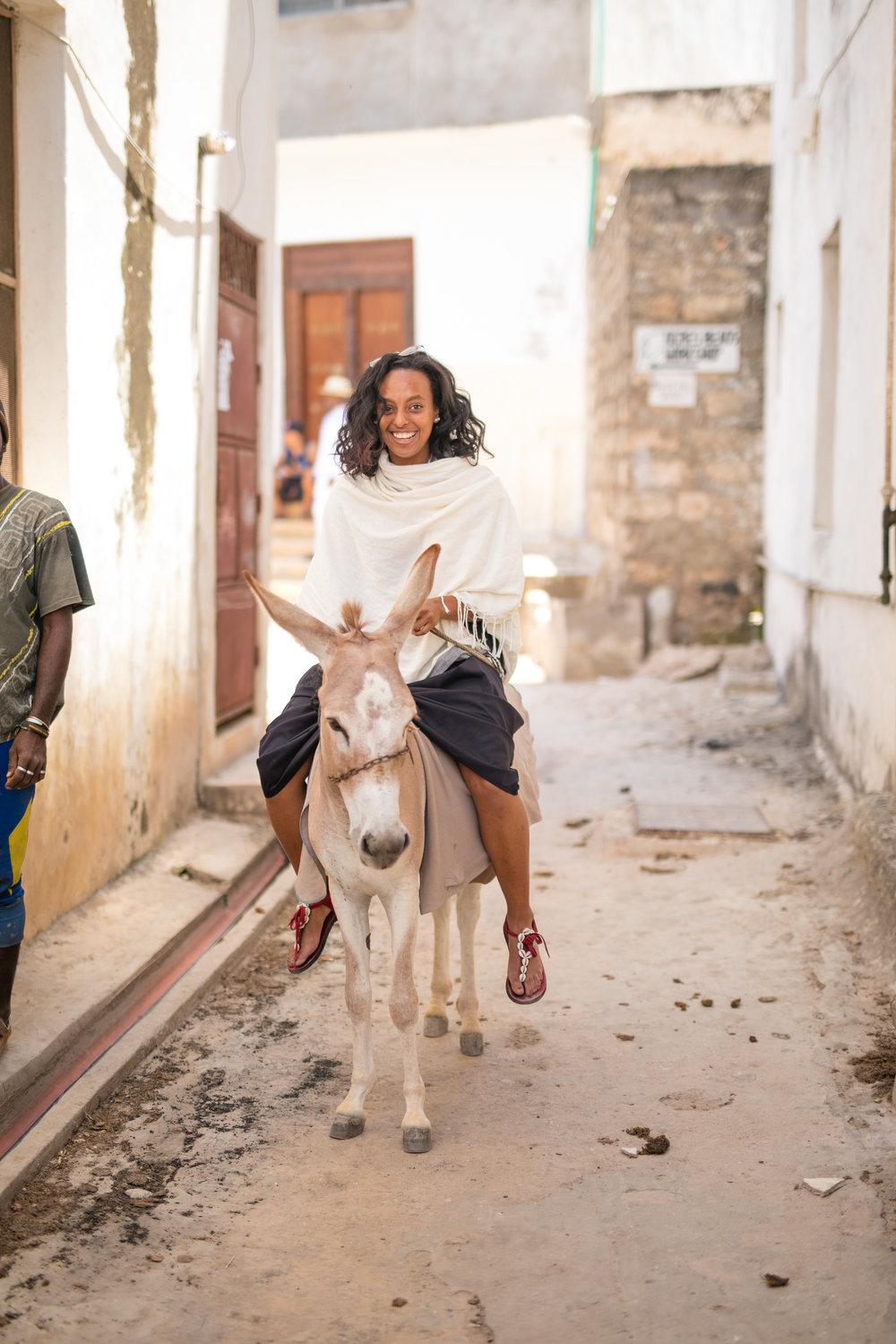 Katarina enjoying a ride through Lamu Town