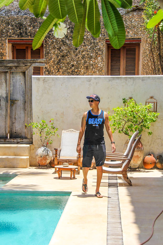 Wayne exploring Peponi house hotel in Lamu Town