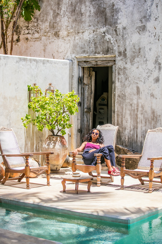 Katarina exploring Peponi house hotel in Lamu Town
