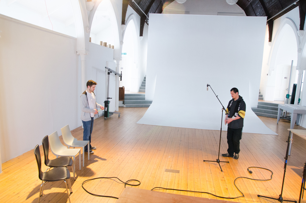 Main hall Kingsland church studios , Mick and Rich start setting up