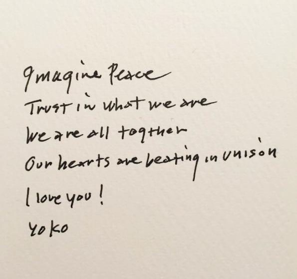 Yoko Ono's instagram message 15/11.15