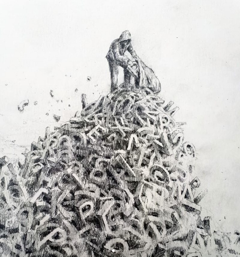 Drawing 'Poem' by Pejac (@pejac_art)