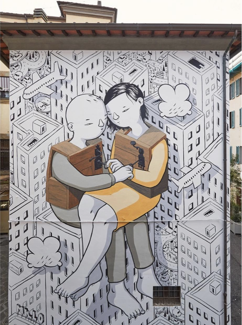'No hesitation' mural in Pistoia by millo