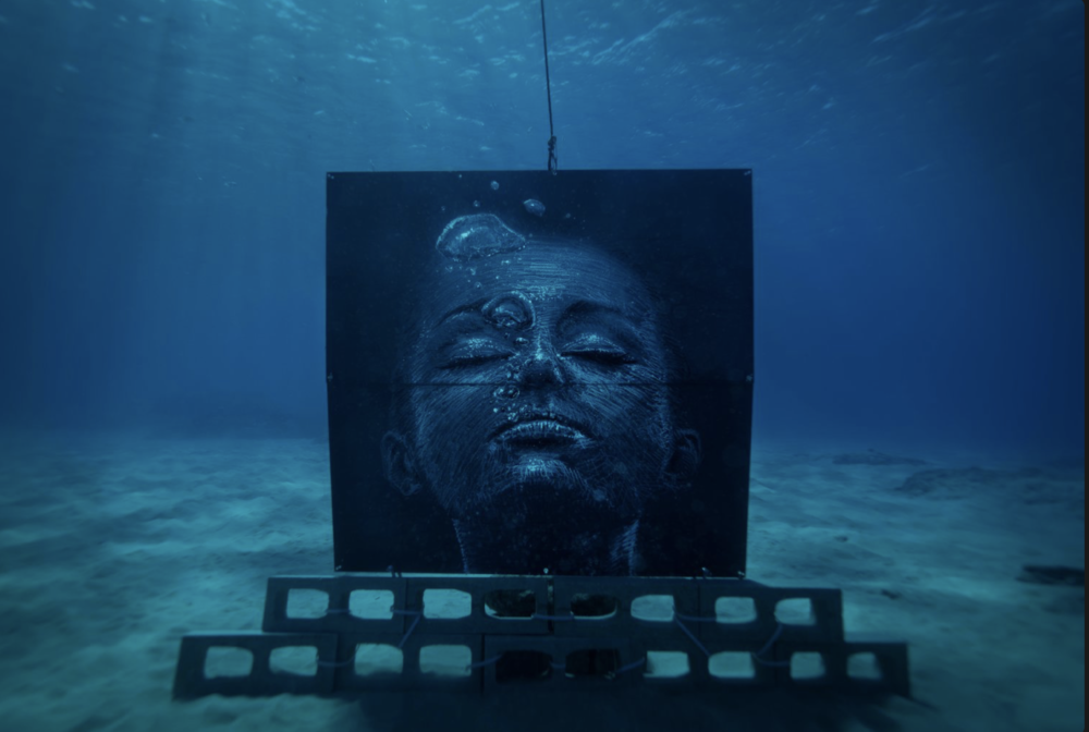 Underwater mural by Sean Yoro from his 'Deep Seads' project, 2019