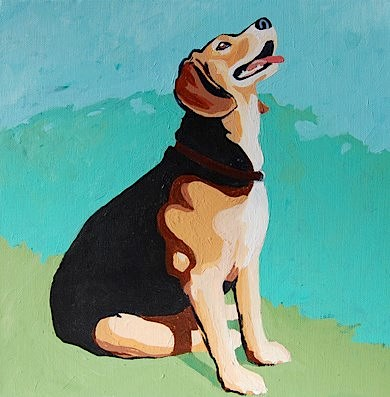 My sweet Lily looking for squirrels!  The painting is by my friend, the wonderful Julie Benda.