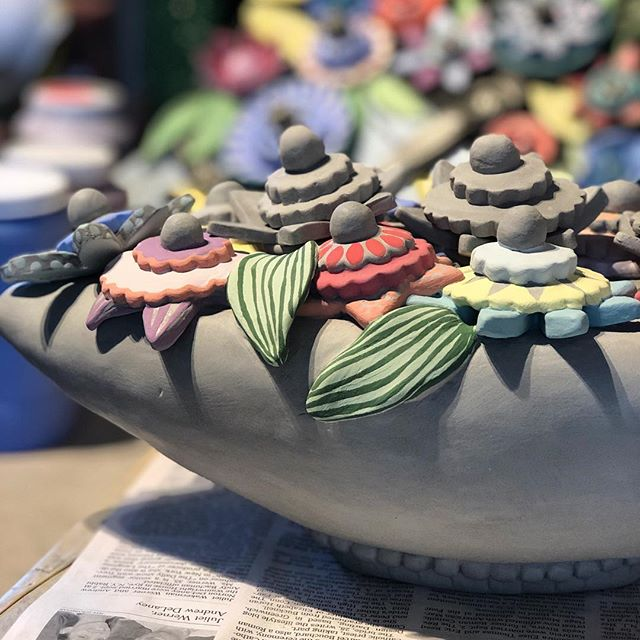 Botanical series in progress. #ceramicsculpture #ceramicflowers #handbuilding #flowerpower