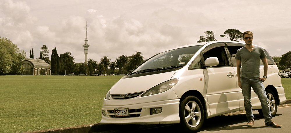 me and my car in the Auckland Domain Park