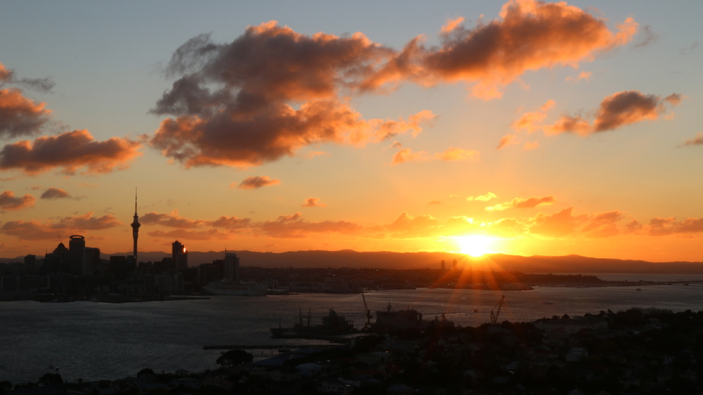 Auckland Skyline at Sunset - viewed from Mt Victoria Reserve, Devonport