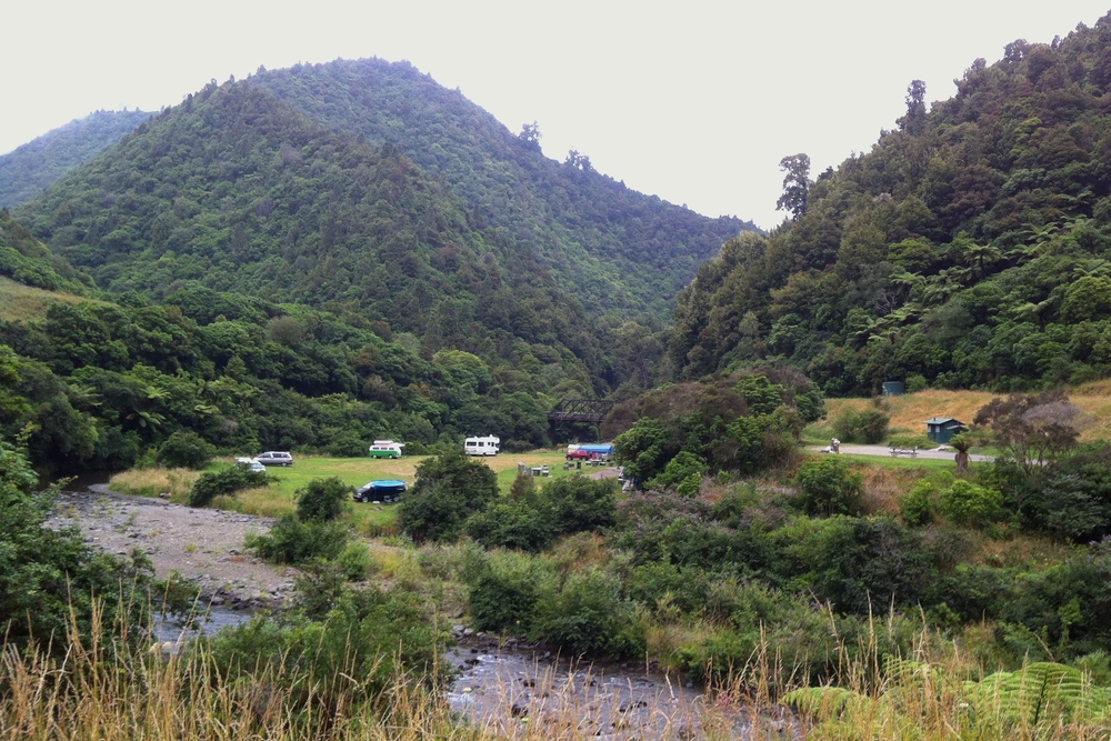 Campground in Waioeka Gorge