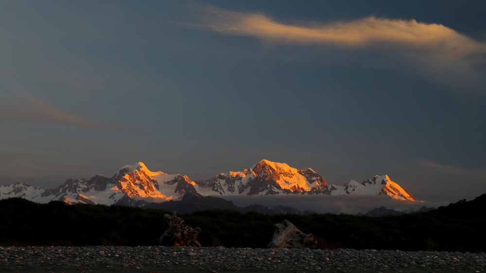 Mt Cook and Mt Tasman in the sunset