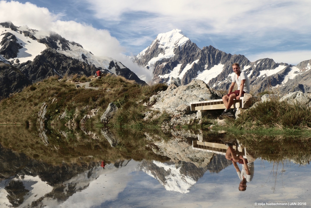 Sealy Tarn with mirroring Mt Cook