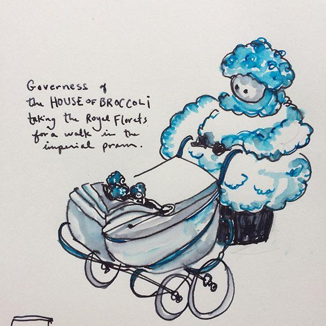 #ink #drawing #paper #sketchbook #broccoli #royals