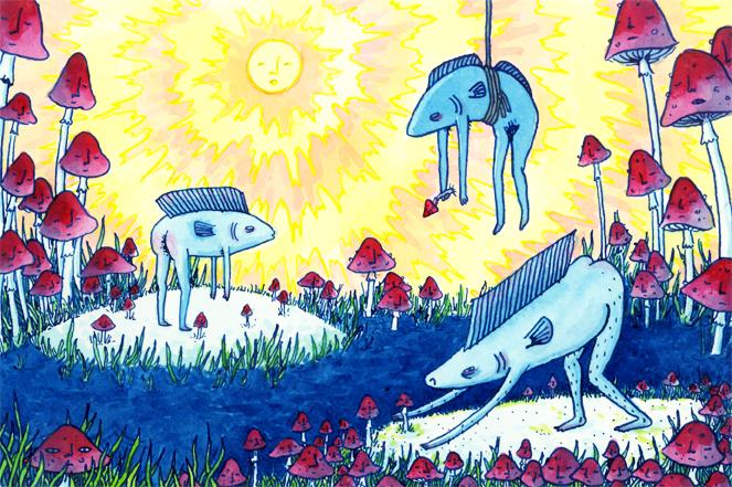 fish and friendly mushrooms