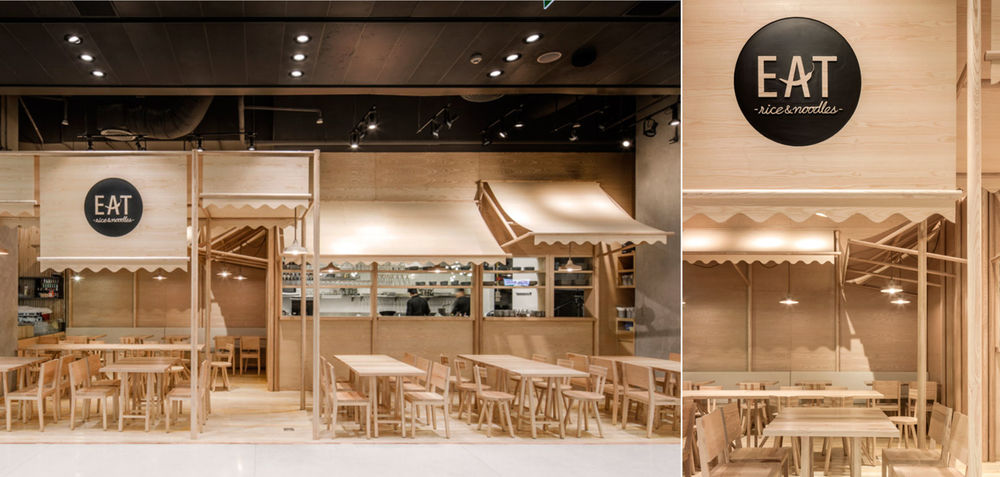 Onion studio designed the interior for  EAT RICE & NOODLES , a restaurant located in Bangkok which uses solid wood ash and plywood to create a monochrome interior.