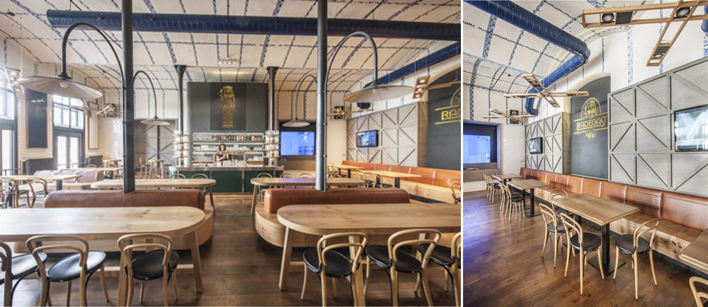Czech office   IO Studio  has created a modern interior for this traditional bar near Prague -  Radegast.  Its interior reflects craftsmanship honesty with rich symbolism and reference to the classic Czech hospitality, transformed into a contemporary architectural concept.