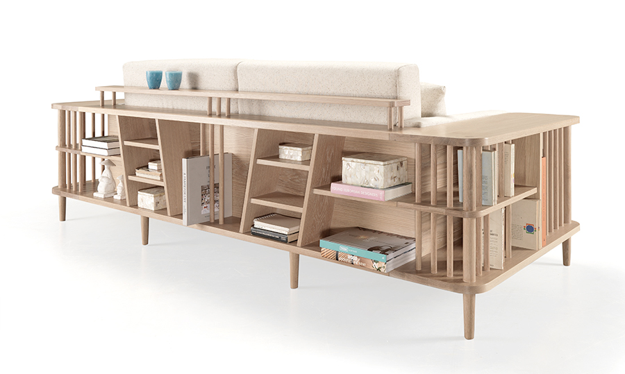 SCAFFOLD is a two in one piece, a sofa and its arms and backrest in wood work as shelving units.