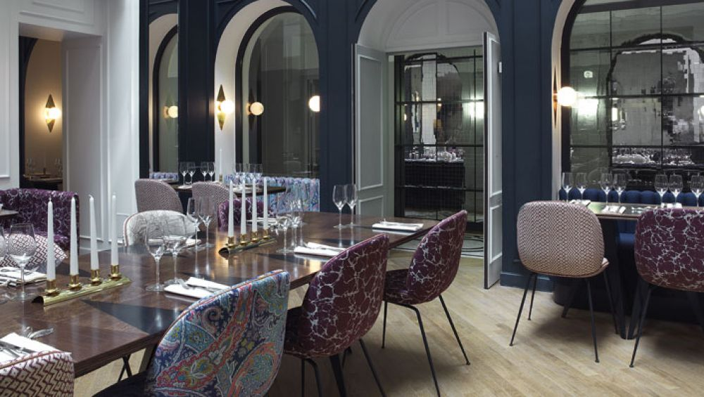 This Les Halles address, which had its original heyday in the twenties, has been restored to a hotel. Using a combination of subtle deco touches, a sophisticated color palette, and a generally pared-down design, the French designer Dorothée Meilichzon has given a look that feels classically Parisian and modern at the same time.