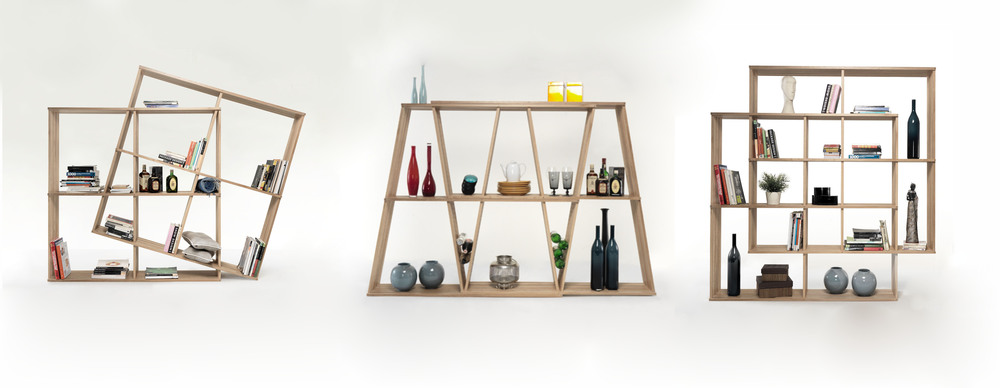 X2 bookshelf has the ability to double in width and height, allowing the user to select the appropriate size and configuration for their available space.