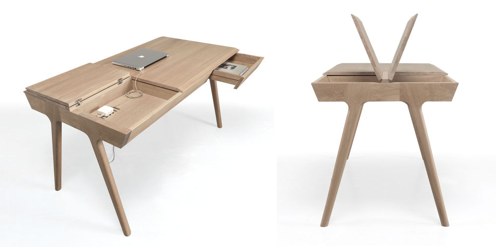METIS IS A COMPACT DESK MADE OF SOLID OAK, OFFERING A REAL STORAGE SOLUTION. Its tabletop hides a lot of compartments, even wires and electric cables, keeping your workspace tidy and organized.