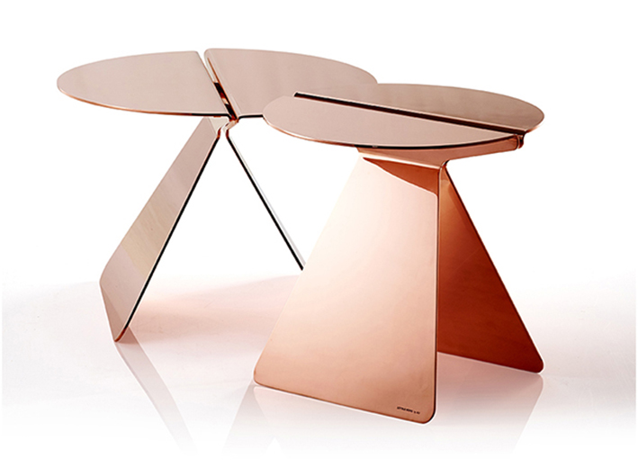 LITTLE WING TABLE BY KNUDSEN,BERG,HINDENES FOR DK3. Solid copper or alluminium in the colors of brown, brass or copper.