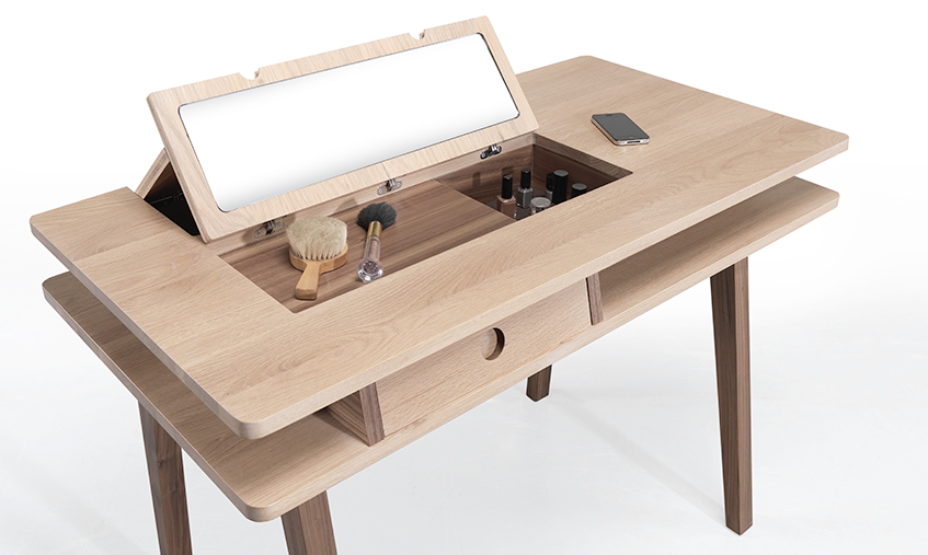 LEI desk/ dressing table    LEI  is a multifunctional and ambiguous table which works as computer desk in a small living room or as a dressing table in a bedroom.