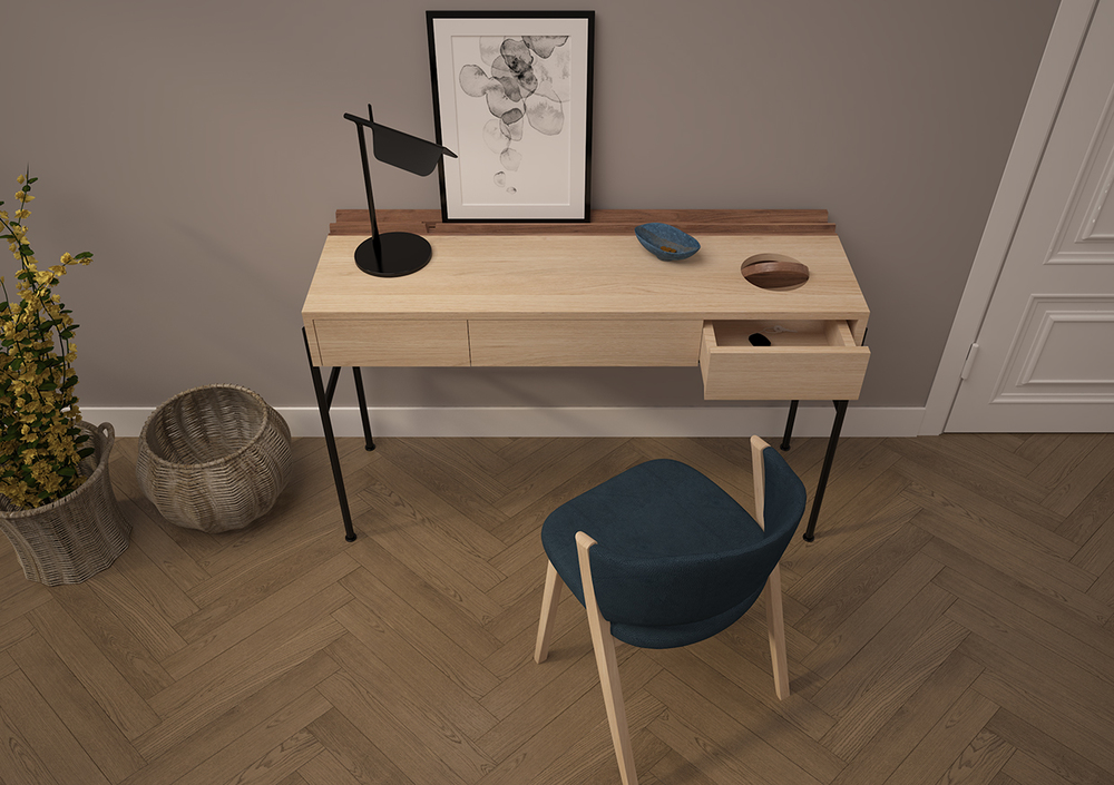 CONCIERGE is a minimalist console and also a desk or a dressing table with a pratical storage and several compartments.
