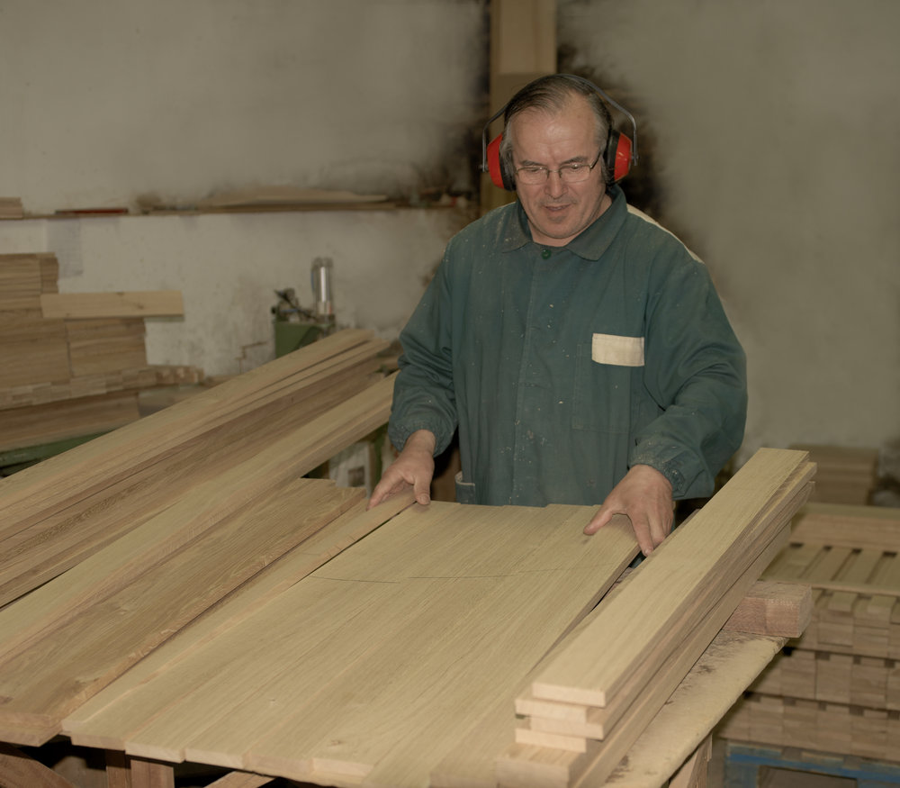 When we receive the wood at our factory, we carefully select and match the timber to give an attractive and consistent appearance to the finished board.