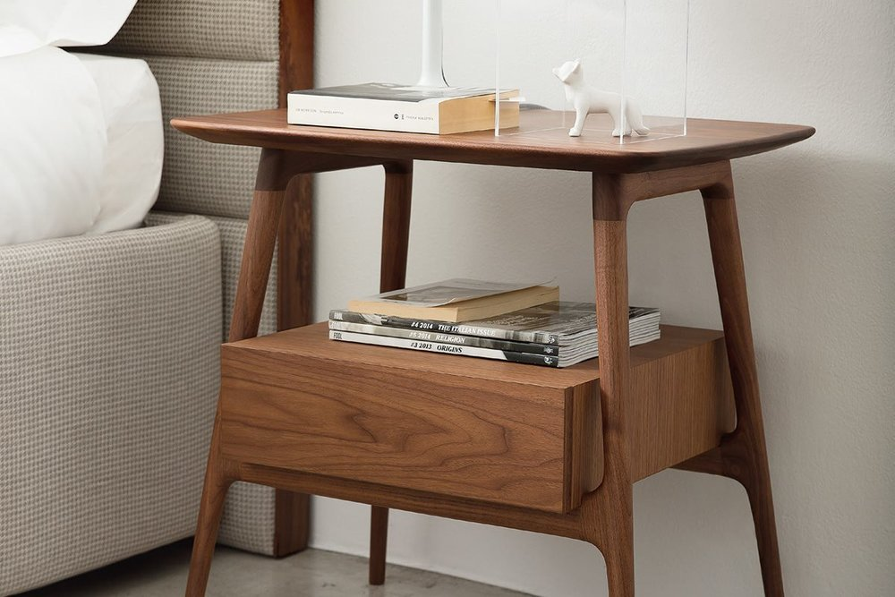 BILOT BY PORADA   This elegant contemporary bedside table has a solid walnut wood frame and one useful drawer.