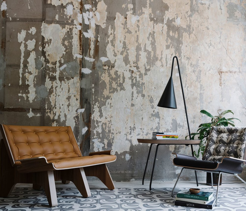 ©  Studio Periphery  Turtle 2-Seater in ochre, Crab Side Table with Angler Lamp in metallicblackand Crab Easy Chair in espresso.