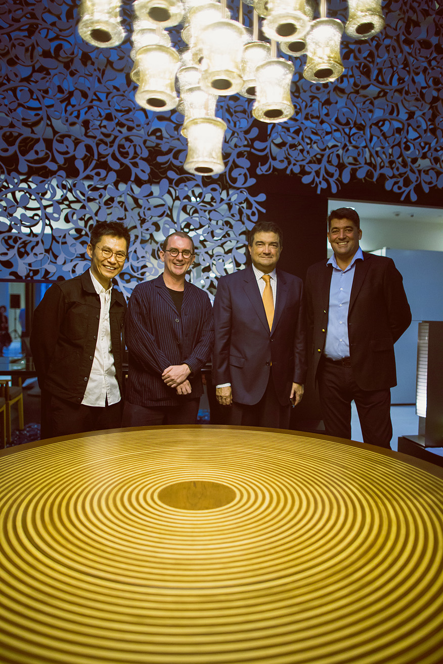 "Celebrating the opening of ""Bonjour, WOHAbeing"" at the National Design Centre, Singapore.  Left to right: Mr Wong Mun Summ (co-founder of WOHAbeing), Mr Richard Hassell (co-founder of WOHAbeing), H.E. Luis Lorvão (Ambassador of Portugal), Mr Salvador Gonzaga (founder of Wewood).   Credit: Yudhi Aristan"