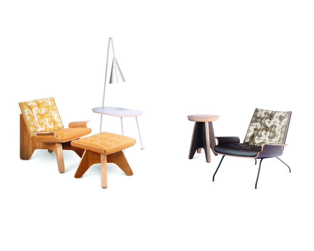 Left to right: Turtle Easy Chair with ottoman in ochre; Crab Side Table with Angler Lamp; Crab Easy Chair and Turtle Side Table in espresso    Credit: WOHAbeing