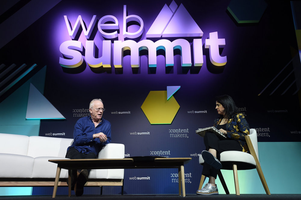 7 November 2018; Mike Gunton,  Creative director, Factual, BBC Studios, and Shalini Sharma, Head of  Global Video, Thrive Global on the ContentMakers Stage during day two of  Web Summit 2018 at the Altice Arena in Lisbon, Portugal. Photo by Eóin  Noonan/Web Summit via Sportsfile