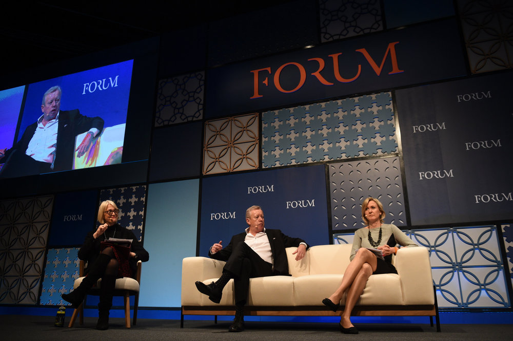 7 November 2018; Ann Mettler,  European Commission, John Saunders, Fleishman Hillard, Margot James, UK  Goverment on the Forum Stage during day two of Web Summit 2018 at the  Altice Arena in Lisbon, Portugal. Photo by David Fitzgerald/Web Summit  via Sportsfile