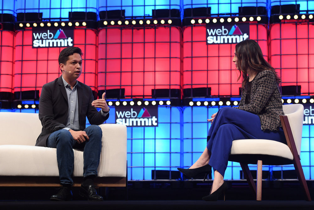7 November 2018; Ben Silbermann,  Pinterest, and Lauren Goode, Wired, on Centre Stage during day two of  Web Summit 2018 at the Altice Arena in Lisbon, Portugal. Photo by Eóin  Noonan/Web Summit via Sportsfile