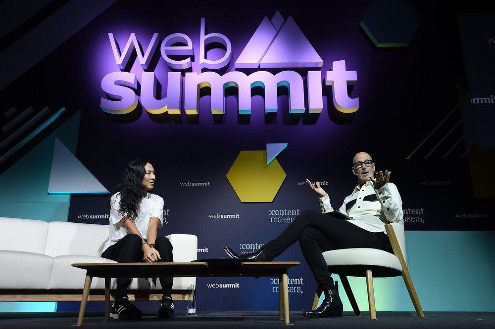7 November 2018; Fashion designer  Alexander Wang, left, and CEO of The Lock Group Simon Lock on the  Contentmakers 1 Stage during day two of Web Summit 2018 at the Altice  Arena in Lisbon, Portugal. Photo by Eóin Noonan/Web Summit via  Sportsfile