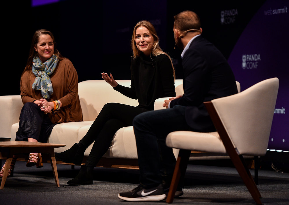 7 November 2018; Speakers, from  left, Susan Credle, FCB Global, Sairah Ashman, Wolff Olins, and Alex  Kantrowitz, BuzzFeed, on the PANDACONF Stage during day two of Web  Summit 2018 at the Altice Arena in Lisbon, Portugal. Photo by Sam  Barnes/Web Summit via Sportsfile