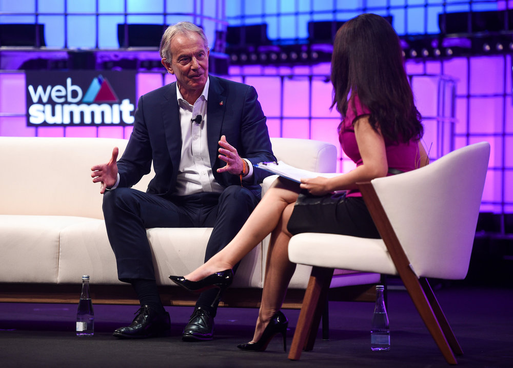 7 November 2018; Former British  Prime Minister Tony Blair, left, with Karen Tso, Anchor, Squawk Box,  CNBC on Centre Stage during day two of Web Summit 2018 at the Altice  Arena in Lisbon, Portugal. Photo by David Fitzgerald/Web Summit via  Sportsfile
