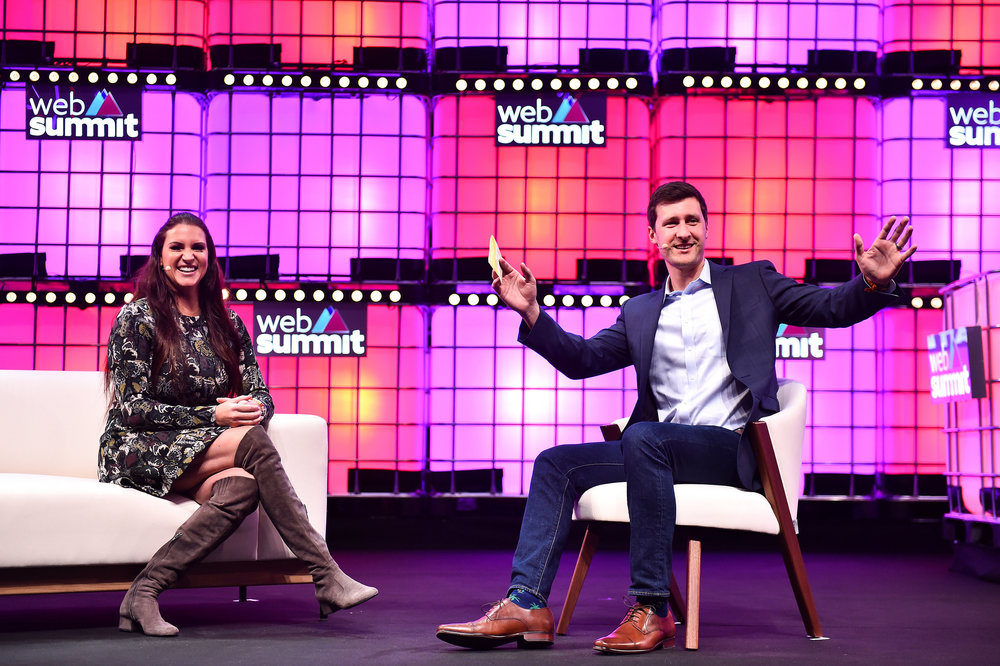 6  November 2018; Stephanie McMahon, WWE, left, and Kurt Wagner, Re/code  on Centre Stage during the opening day of Web Summit 2018 at the Altice  Arena in Lisbon, Portugal. Photo by Seb Daly/Web Summit via Sportsfile