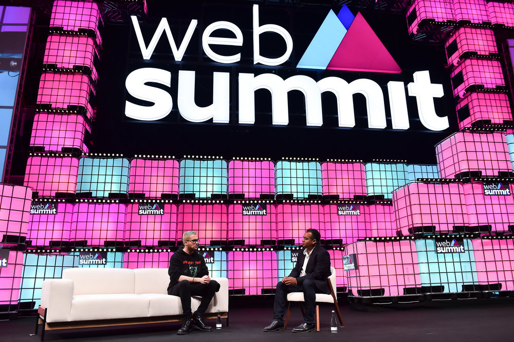6 November 2018; Christopher Wylie,  left, and Krishnan Guru-Murthy, Channel 4 News on Centre Stage during  the opening day of Web Summit 2018 at the Altice Arena in Lisbon,  Portugal. Photo by Seb Daly/Web Summit via Sportsfile