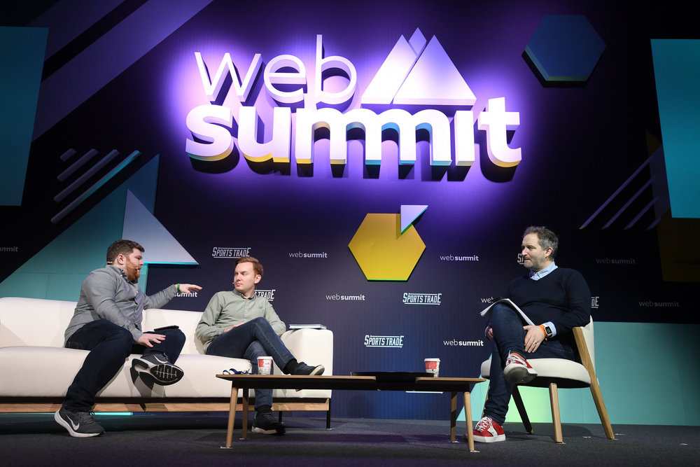 6 November 2018; Speakers, from  left, Darren Cleary, Off the Ball, Eoin Sheahan, Off the Ball, Ger  Gilroy, Off the Ball, during an OTBAM broadcast on SportsTrade Stage  during the opening day of Web Summit 2018 at the Altice Arena in Lisbon,  Portugal. Photo by Stephen McCarthy/Web Summit via Sportsfile