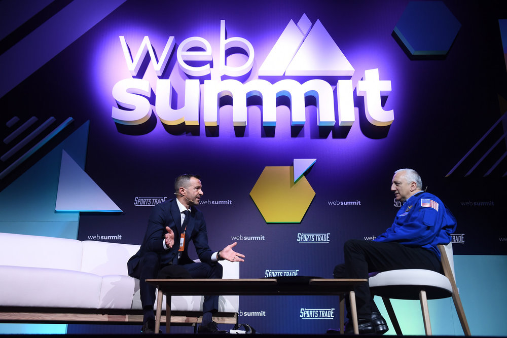 6 November 2018; Jorge Mendes,  Gestifute & Polaris Sports, and Mike Massimino, NASA Astronaut, on  Sportstrade Stage during the opening day of Web Summit 2018 at the  Altice Arena in Lisbon, Portugal. Photo by Stephen McCarthy/Web Summit  via Sportsfile
