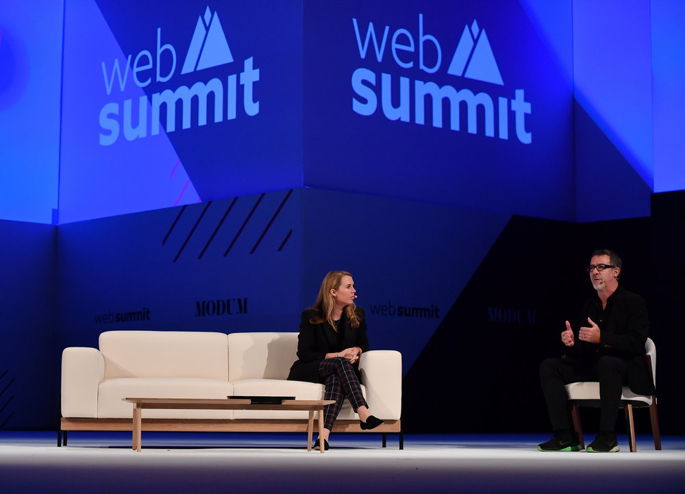 8 November 2018; Rachel Waller, VP  Marketing, Digital, Burberry, and Barry Wacksman, EVP, Global Chief  Strategy Officer, R/GA, on the Modum Stage during day three of Web  Summit 2018 at the Altice Arena in Lisbon, Portugal. Photo by Sam  Barnes/Web Summit via Sportsfile