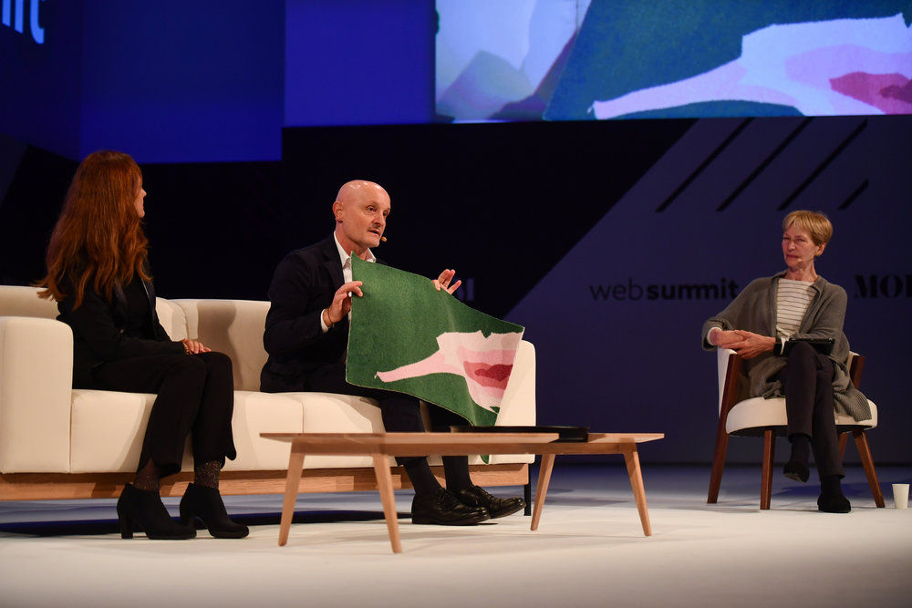 8 November 2018; Speakers, from  left, Livia Firth, Founder & Creative, Eco-Age, Giulio Bonazzi, CEO  & President, Aquafil, and Isabel Hilton, Founder & Editor,  Chinadialogue.net, on Modum Stage during day three of Web Summit 2018 at  the Altice Arena in Lisbon, Portugal. Photo by David Fitzgerald/Web  Summit via Sportsfile
