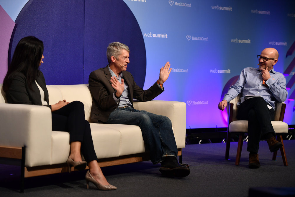 8 November 2018; Speakers, from  left, Mona Siddiqui, CDO, U.S. Department of Health and Human Services,  Clay Johnston, Dean, Dell Medical School, and Paul Nuki, Senior Editor,  Global Health Security, The Daily Telegraph, on the HealthConf Stage  during day three of Web Summit 2018 at the Altice Arena in Lisbon,  Portugal. Photo by Sam Barnes/Web Summit via Sportsfile