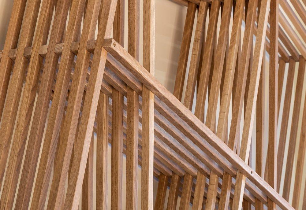 Wooden slats shelf