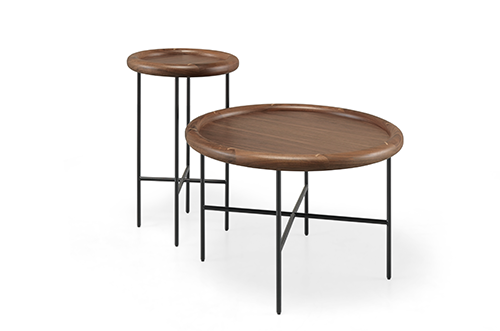 Round side tables in walnut